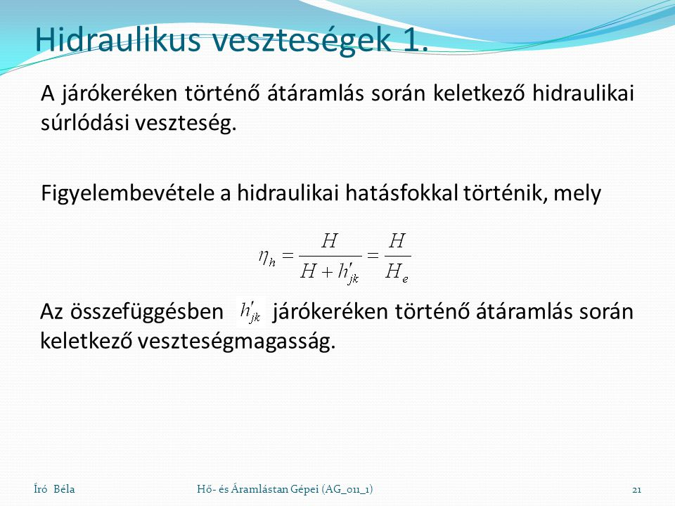 Hidraulikus veszteségek 1.