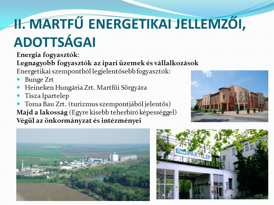 II. MARTFŰ ENERGETIKAI JELLEMZŐI, ADOTTSÁGAI