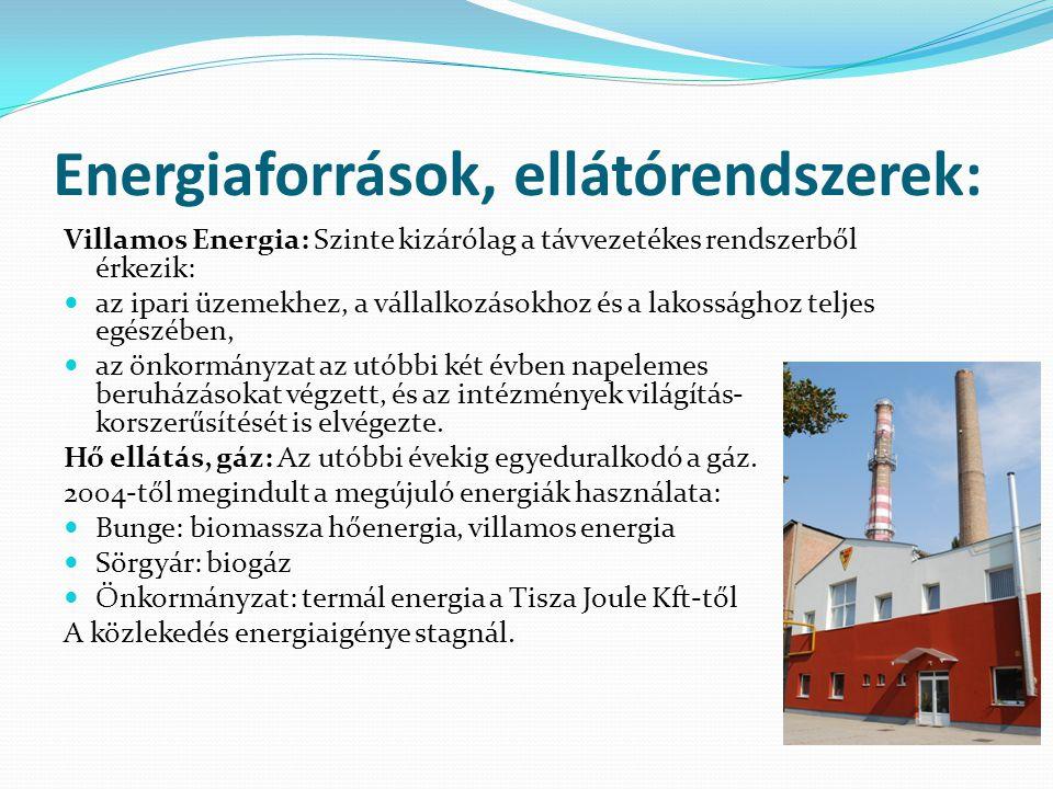 Energiaforrások, ellátórendszerek: