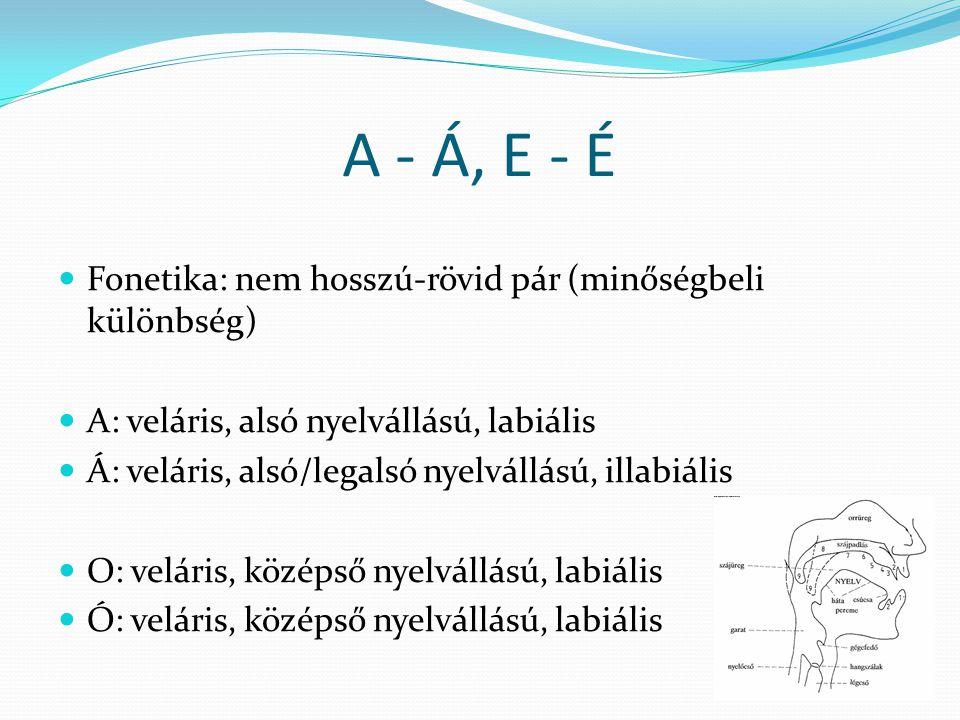A - Á, E - É Fonetika: nem hosszú-rövid pár (minőségbeli különbség)