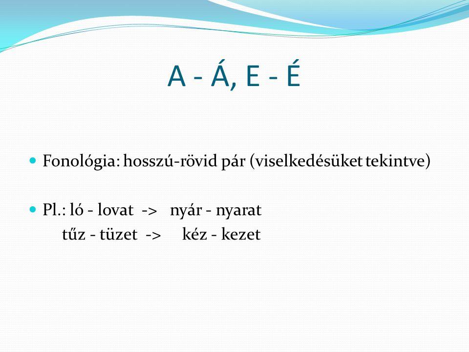 A - Á, E - É Fonológia: hosszú-rövid pár (viselkedésüket tekintve)