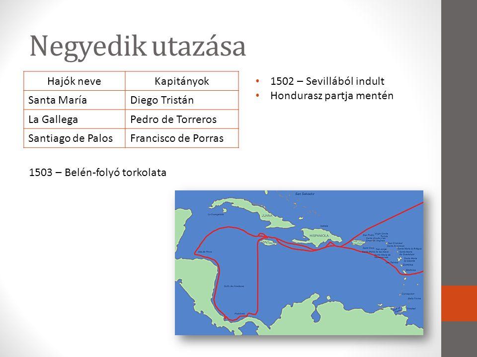 Negyedik utazása Hajók neve Kapitányok Santa María Diego Tristán
