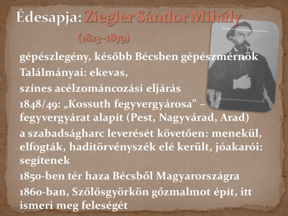 Édesapja: Ziegler Sándor Mihály (1823–1879)