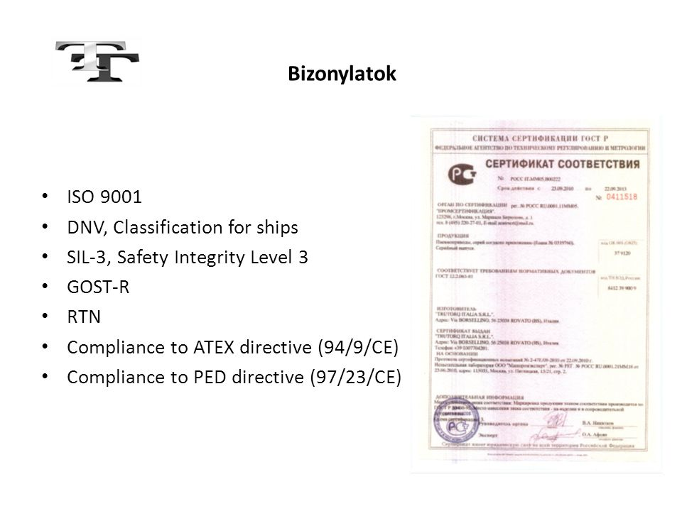 Bizonylatok ISO 9001 DNV, Classification for ships