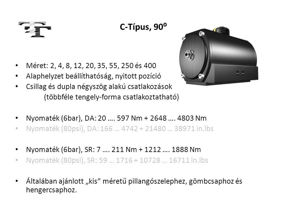 C-Típus, 90⁰ Méret: 2, 4, 8, 12, 20, 35, 55, 250 és 400. Alaphelyzet beállíthatóság, nyitott pozíció.