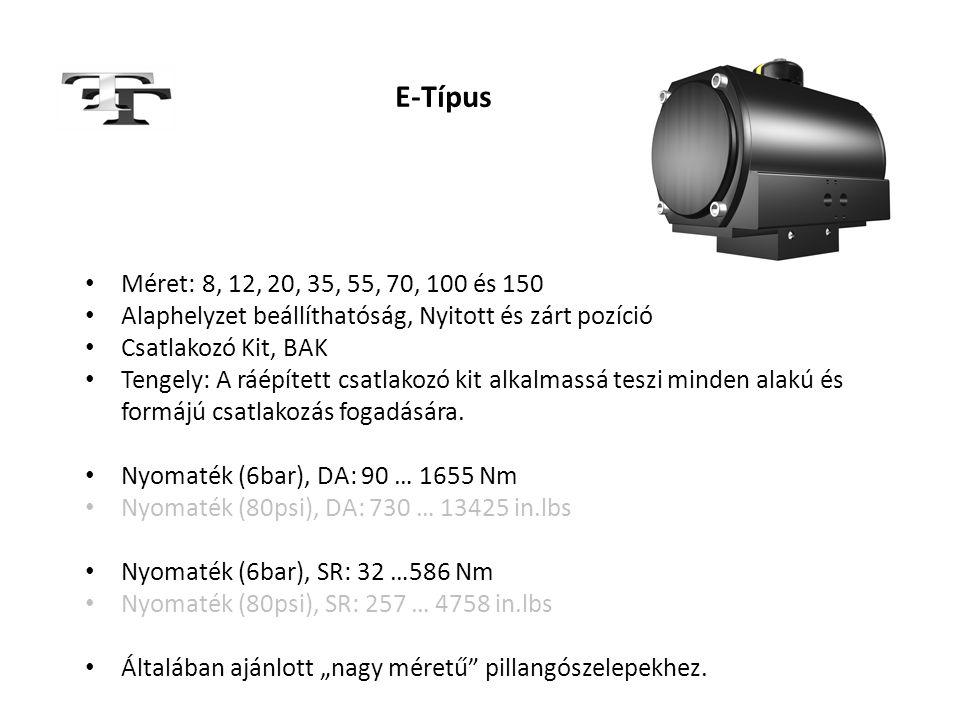 E-Típus Méret: 8, 12, 20, 35, 55, 70, 100 és 150. Alaphelyzet beállíthatóság, Nyitott és zárt pozíció.