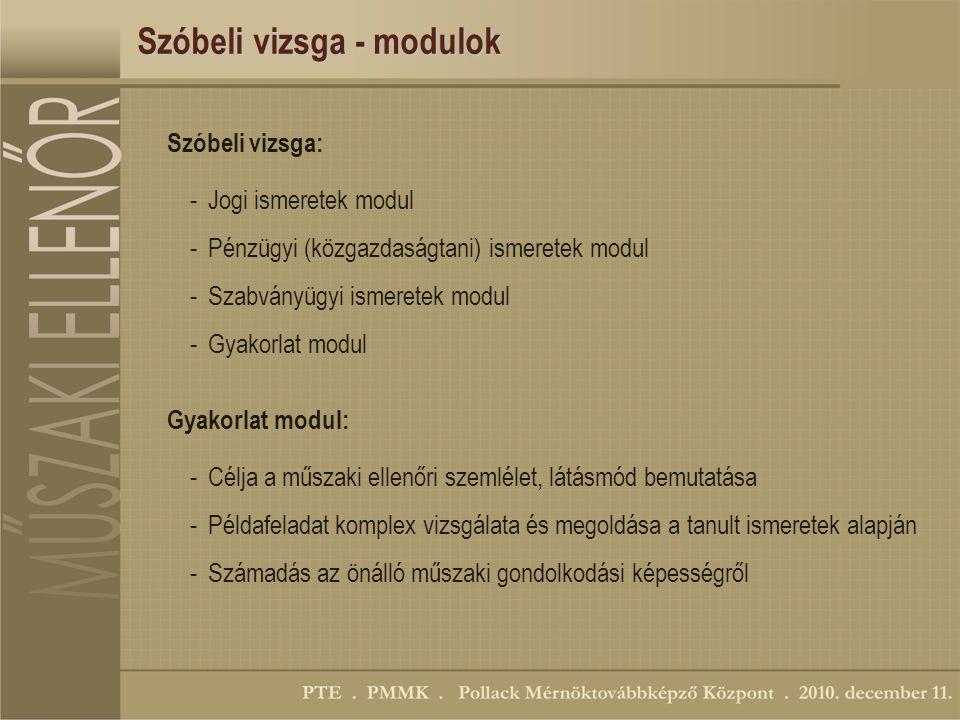 Szóbeli vizsga - modulok