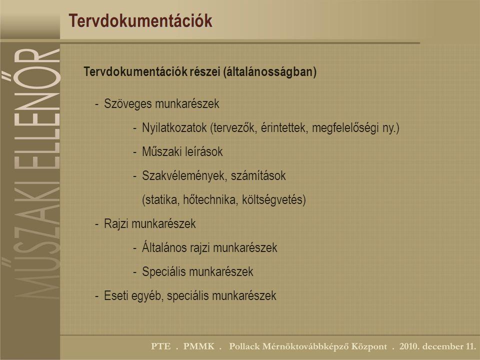 Tervdokumentációk Tervdokumentációk részei (általánosságban)