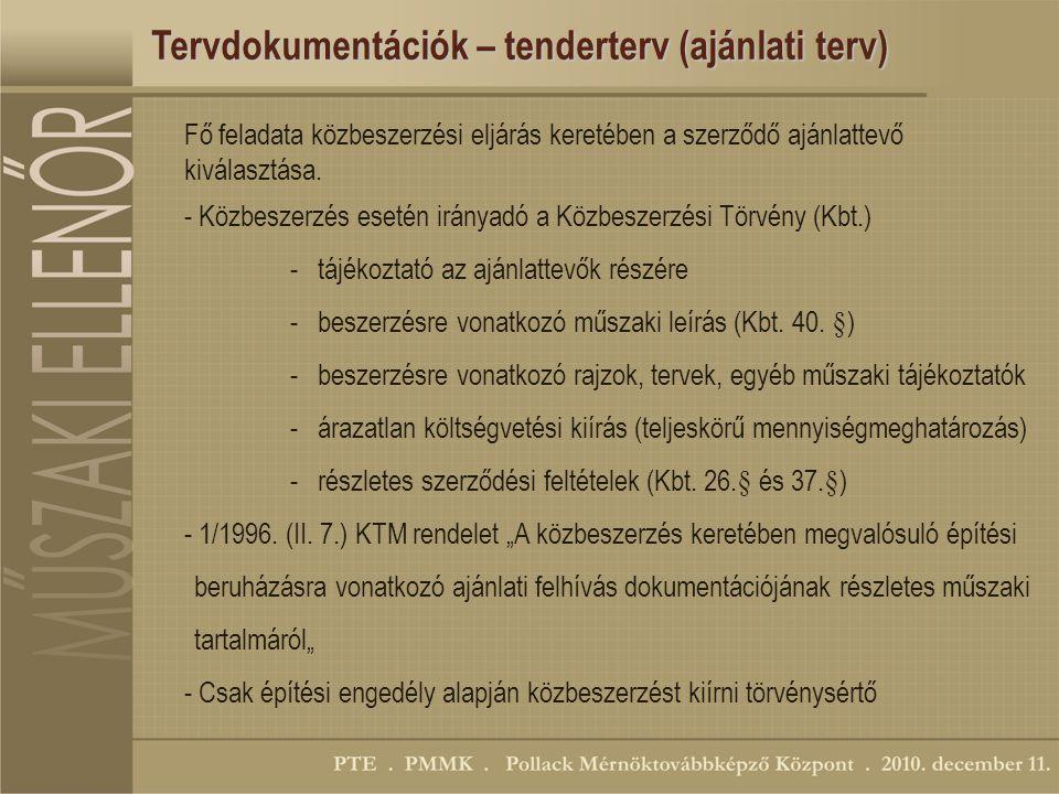 Tervdokumentációk – tenderterv (ajánlati terv)