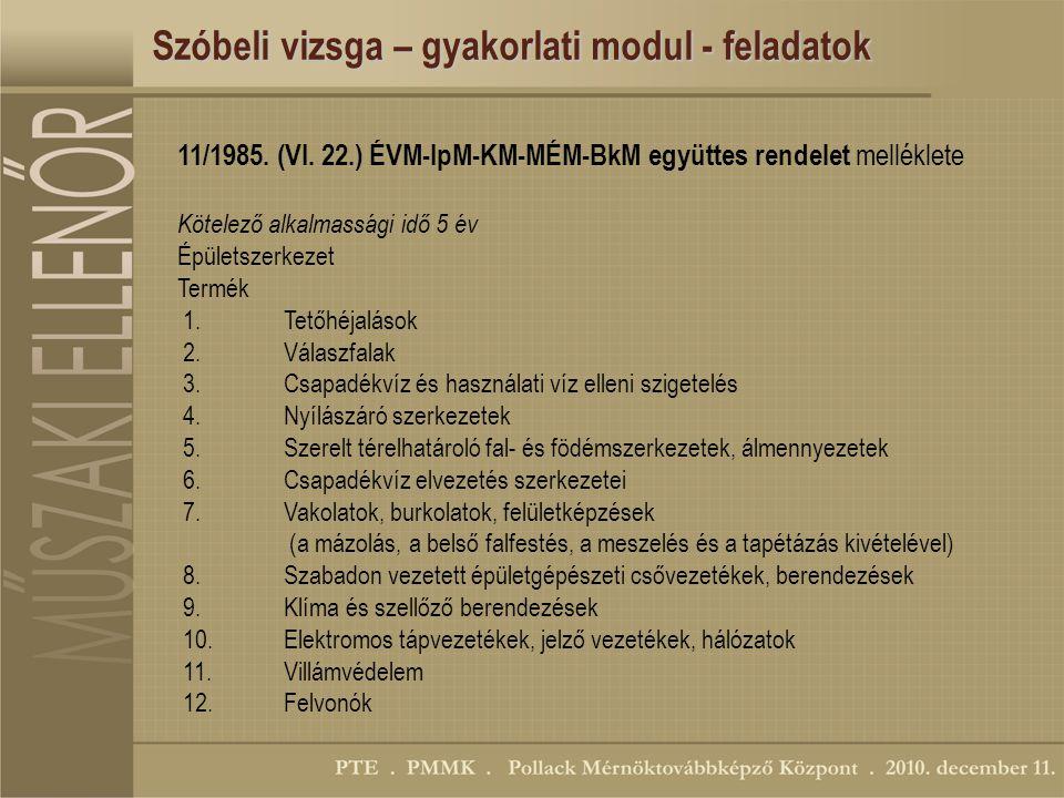 Szóbeli vizsga – gyakorlati modul - feladatok