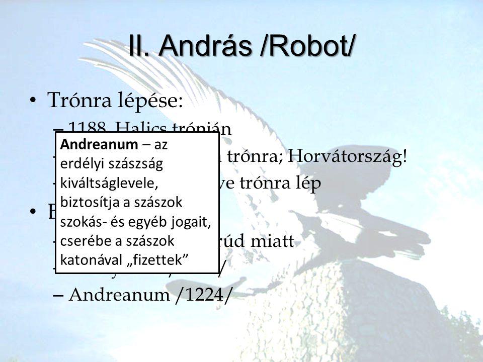 II. András /Robot/ Trónra lépése: Belpolitikája 1188. Halics trónján