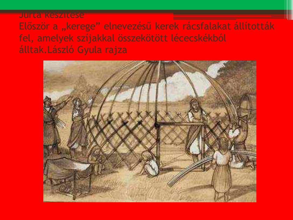 """Jurta készítése Először a """"kerege elnevezésű kerek rácsfalakat állították fel, amelyek szíjakkal összekötött lécecskékból álltak.László Gyula rajza"""