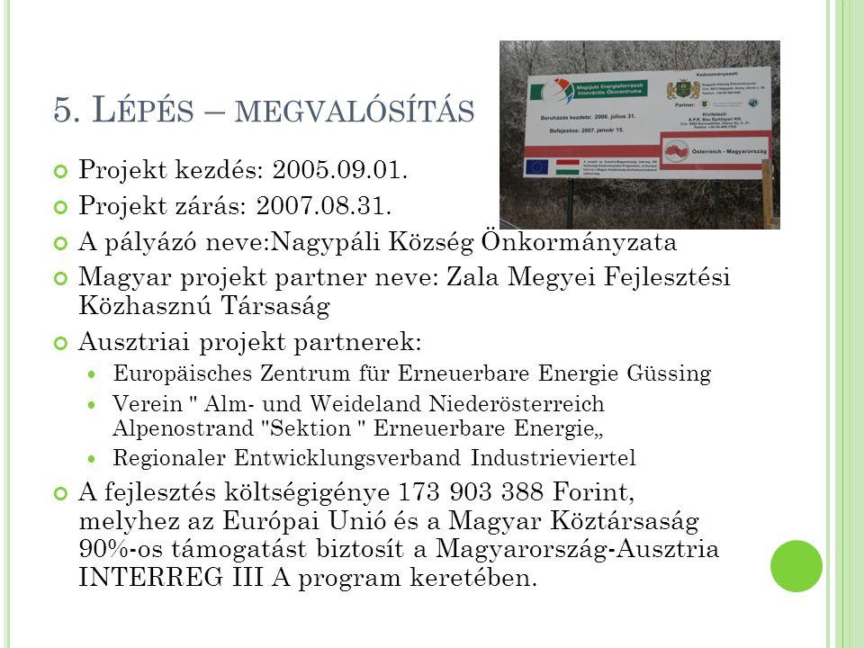 5. Lépés – megvalósítás Projekt kezdés: 2005.09.01.