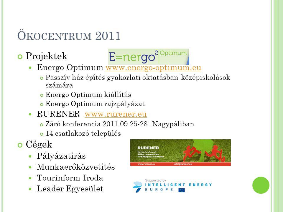Ökocentrum 2011 Projektek Cégek Energo Optimum www.energo-optimum.eu