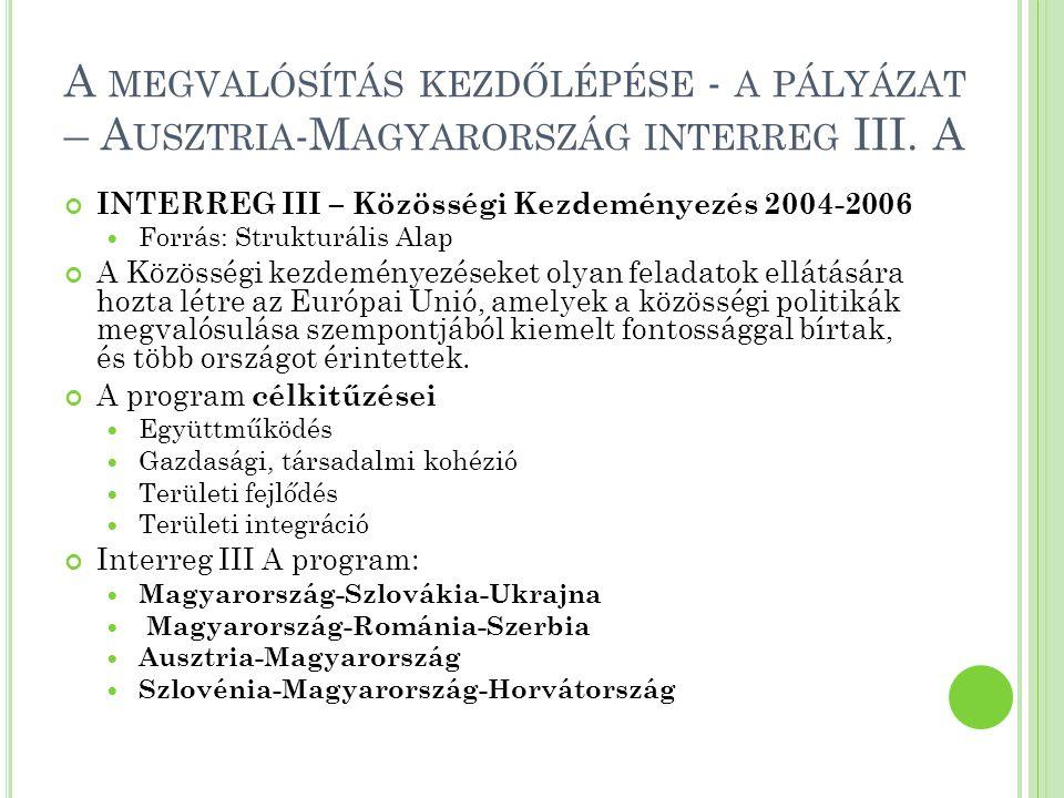 A megvalósítás kezdőlépése - a pályázat – Ausztria-Magyarország interreg III. A
