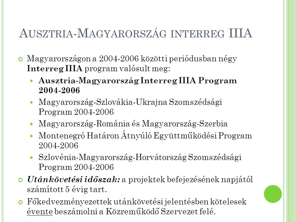 Ausztria-Magyarország interreg IIIA