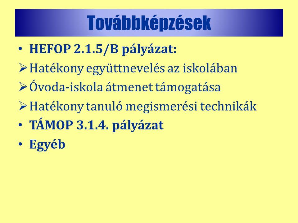 Továbbképzések HEFOP 2.1.5/B pályázat: