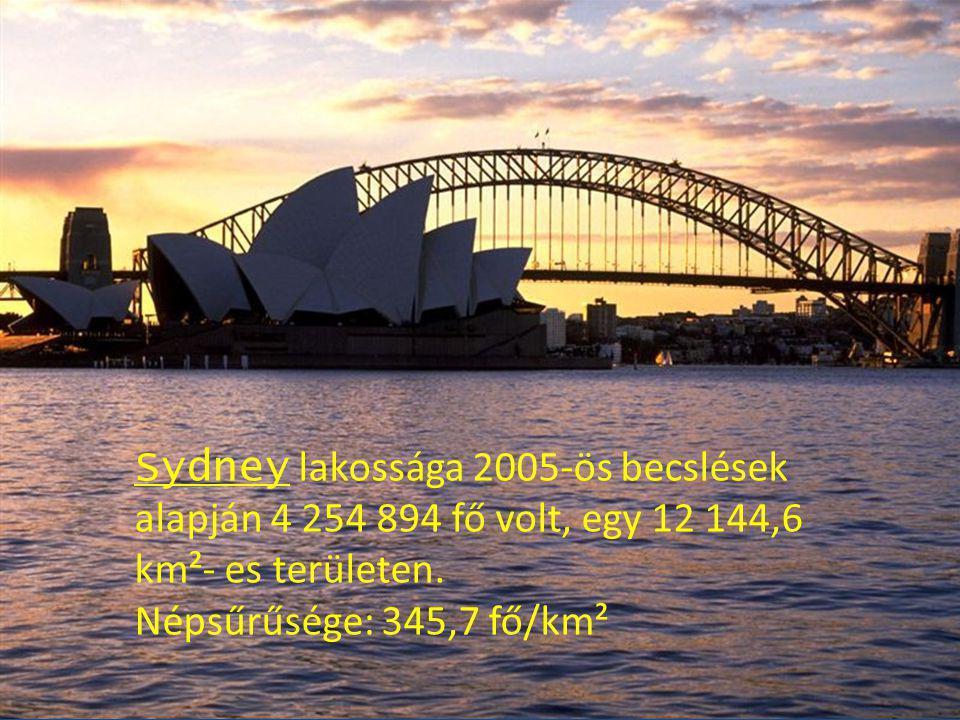 Sydney lakossága 2005-ös becslések alapján 4 254 894 fő volt, egy 12 144,6 km²- es területen.
