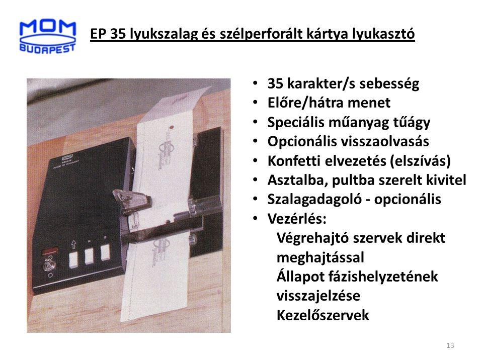 EP 35 lyukszalag és szélperforált kártya lyukasztó