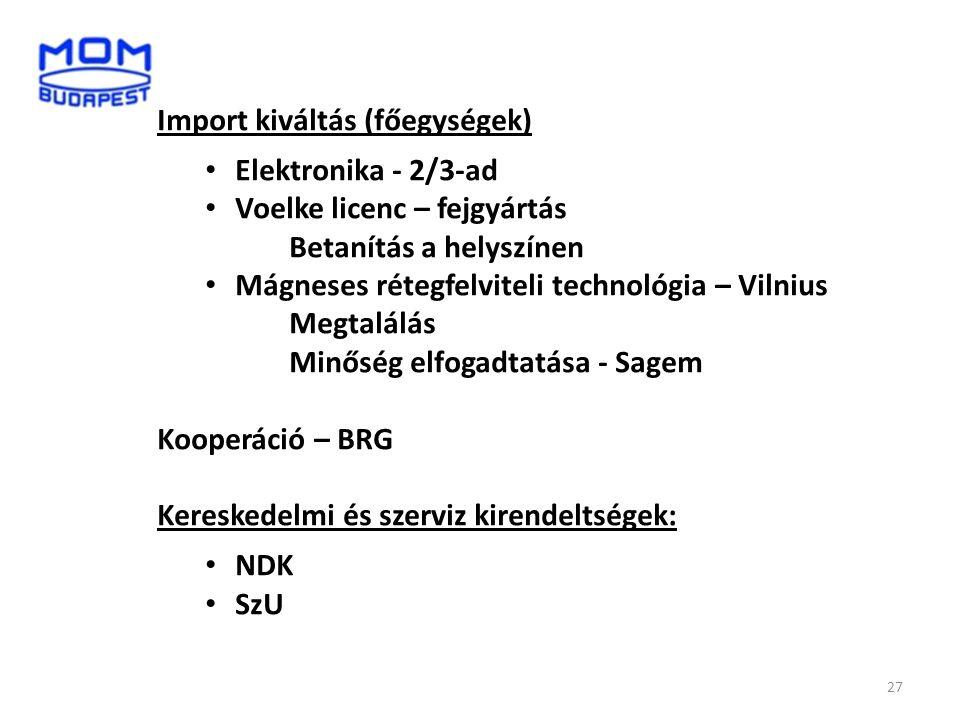 Import kiváltás (főegységek)