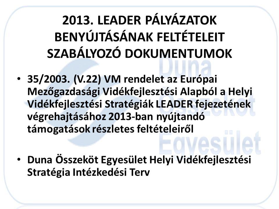 2013. LEADER PÁLYÁZATOK BENYÚJTÁSÁNAK FELTÉTELEIT SZABÁLYOZÓ DOKUMENTUMOK