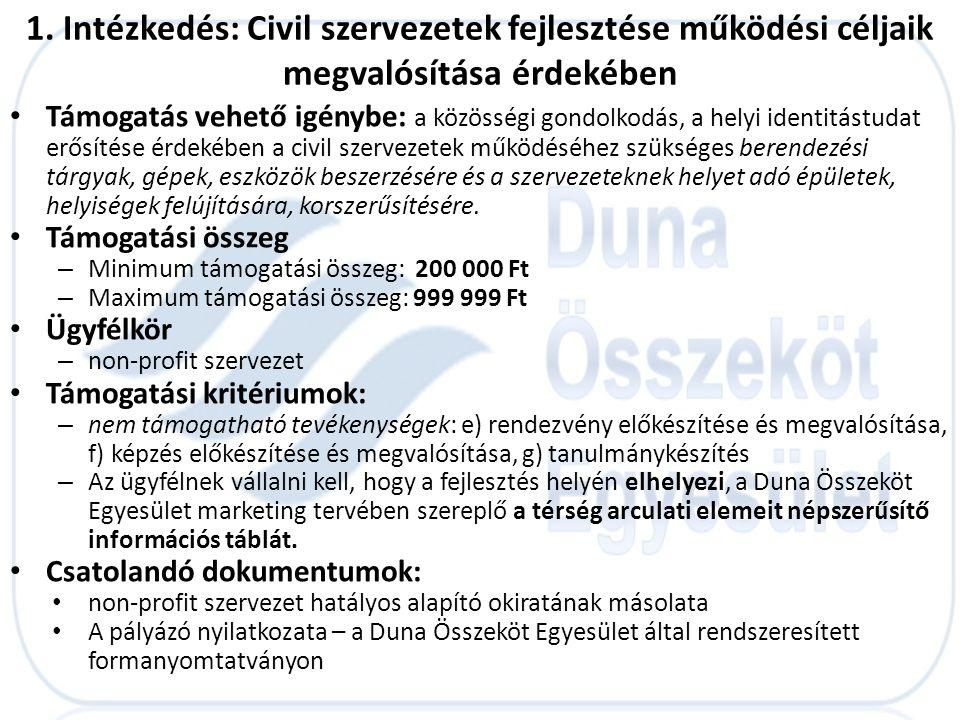 1. Intézkedés: Civil szervezetek fejlesztése működési céljaik megvalósítása érdekében