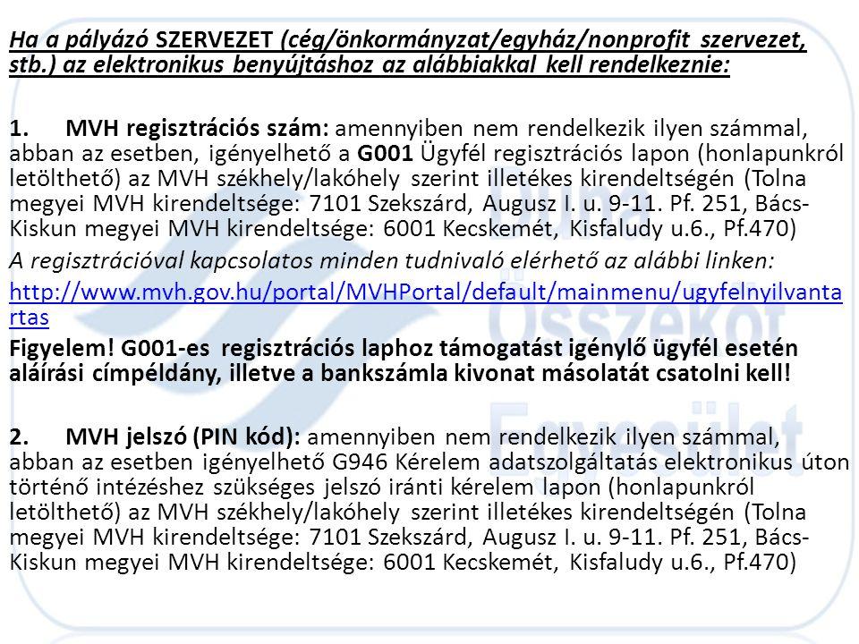 Ha a pályázó SZERVEZET (cég/önkormányzat/egyház/nonprofit szervezet, stb.) az elektronikus benyújtáshoz az alábbiakkal kell rendelkeznie: