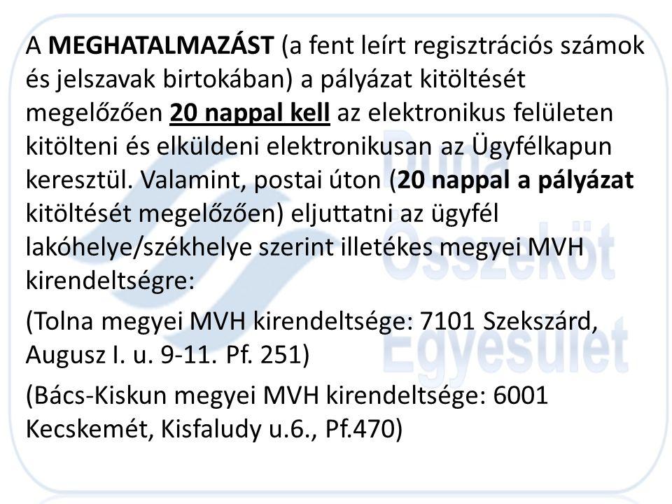 A MEGHATALMAZÁST (a fent leírt regisztrációs számok és jelszavak birtokában) a pályázat kitöltését megelőzően 20 nappal kell az elektronikus felületen kitölteni és elküldeni elektronikusan az Ügyfélkapun keresztül. Valamint, postai úton (20 nappal a pályázat kitöltését megelőzően) eljuttatni az ügyfél lakóhelye/székhelye szerint illetékes megyei MVH kirendeltségre: