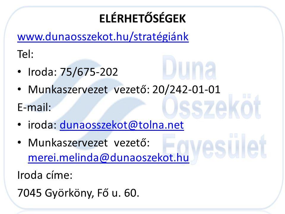 ELÉRHETŐSÉGEK www.dunaosszekot.hu/stratégiánk Tel: Iroda: 75/675-202