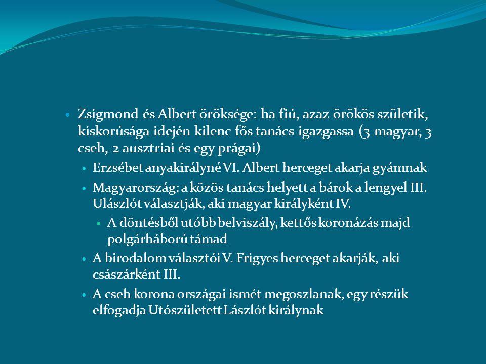 Zsigmond és Albert öröksége: ha fiú, azaz örökös születik, kiskorúsága idején kilenc fős tanács igazgassa (3 magyar, 3 cseh, 2 ausztriai és egy prágai)