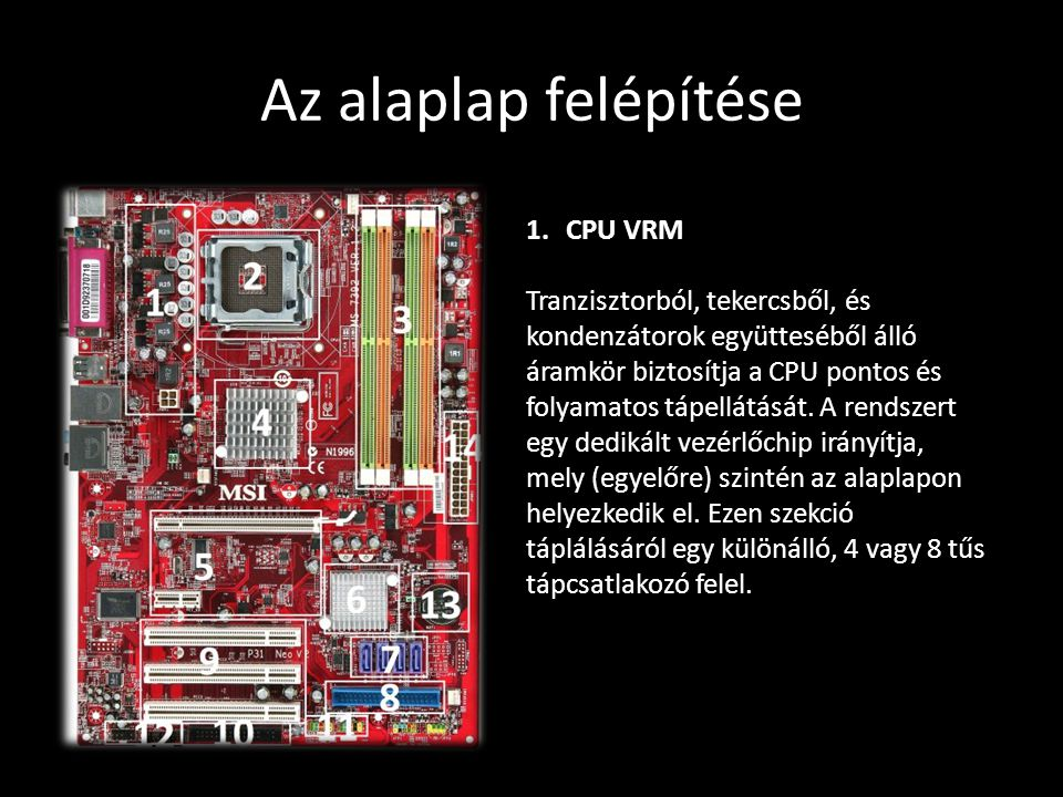Az alaplap felépítése CPU VRM