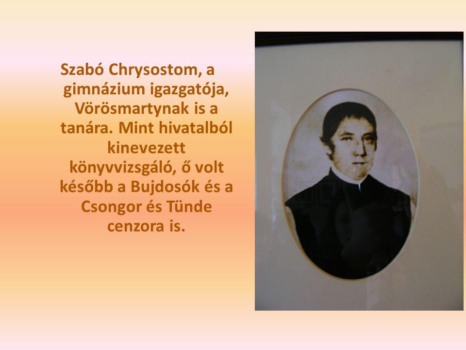 Szabó Chrysostom, a gimnázium igazgatója, Vörösmartynak is a tanára