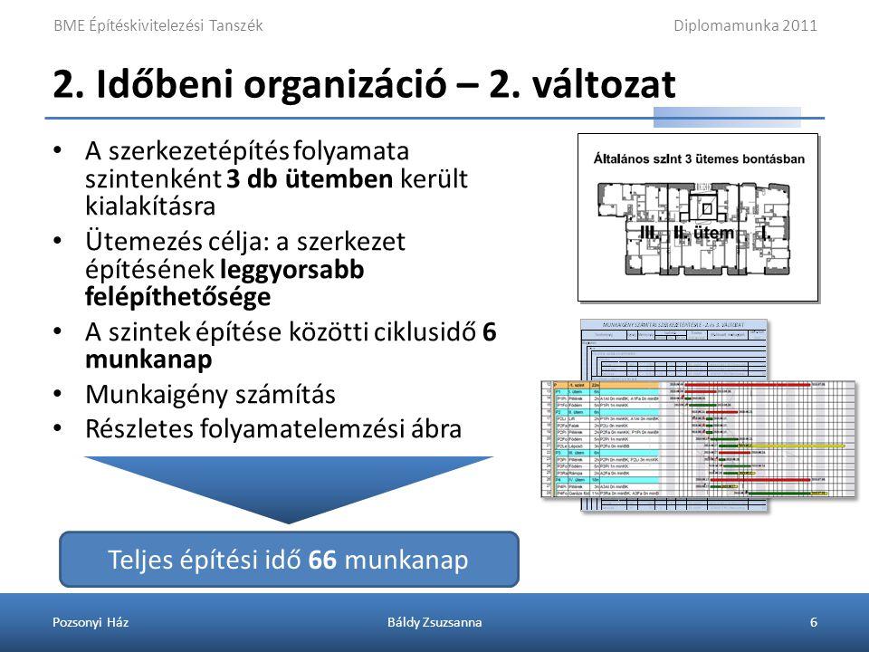 2. Időbeni organizáció – 3. változat
