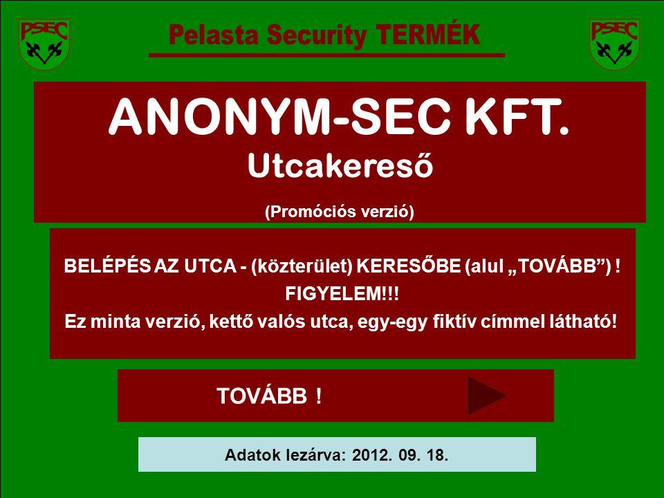 ANONYM-SEC KFT. Utcakereső Pelasta Security TERMÉK TOVÁBB !