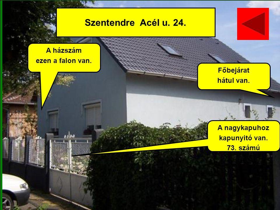 Szentendre Acél u. 24. A házszám ezen a falon van. Főbejárat