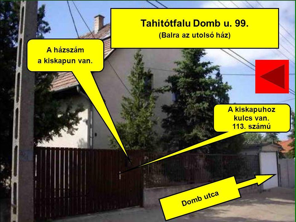 Tahitótfalu Domb u. 99. (Balra az utolsó ház) A házszám