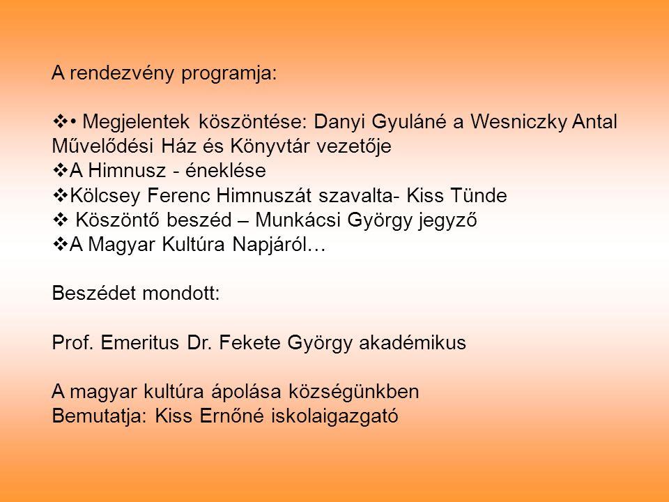 A rendezvény programja: