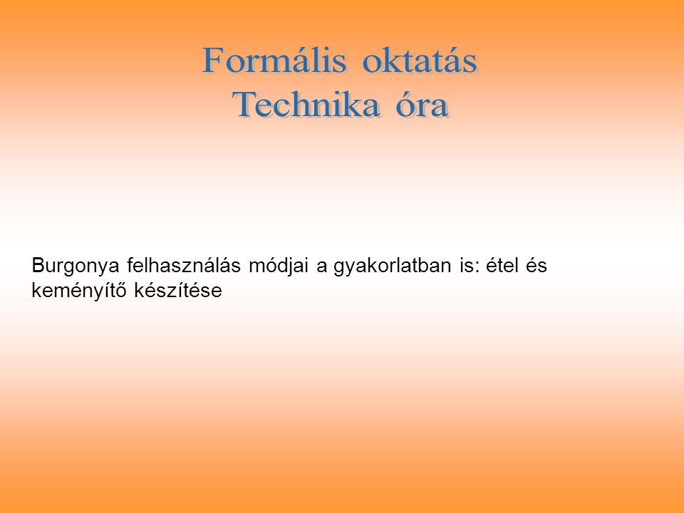 Formális oktatás Technika óra