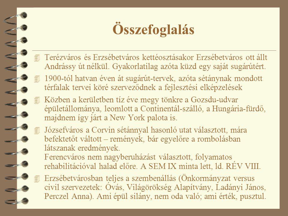 Összefoglalás Terézváros és Erzsébetváros kettéosztásakor Erzsébetváros ott állt Andrássy út nélkül. Gyakorlatilag azóta küzd egy saját sugárútért.