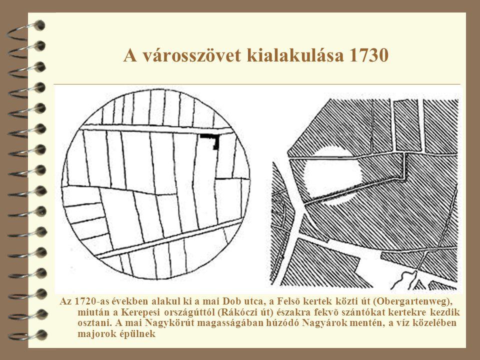 A városszövet kialakulása 1730