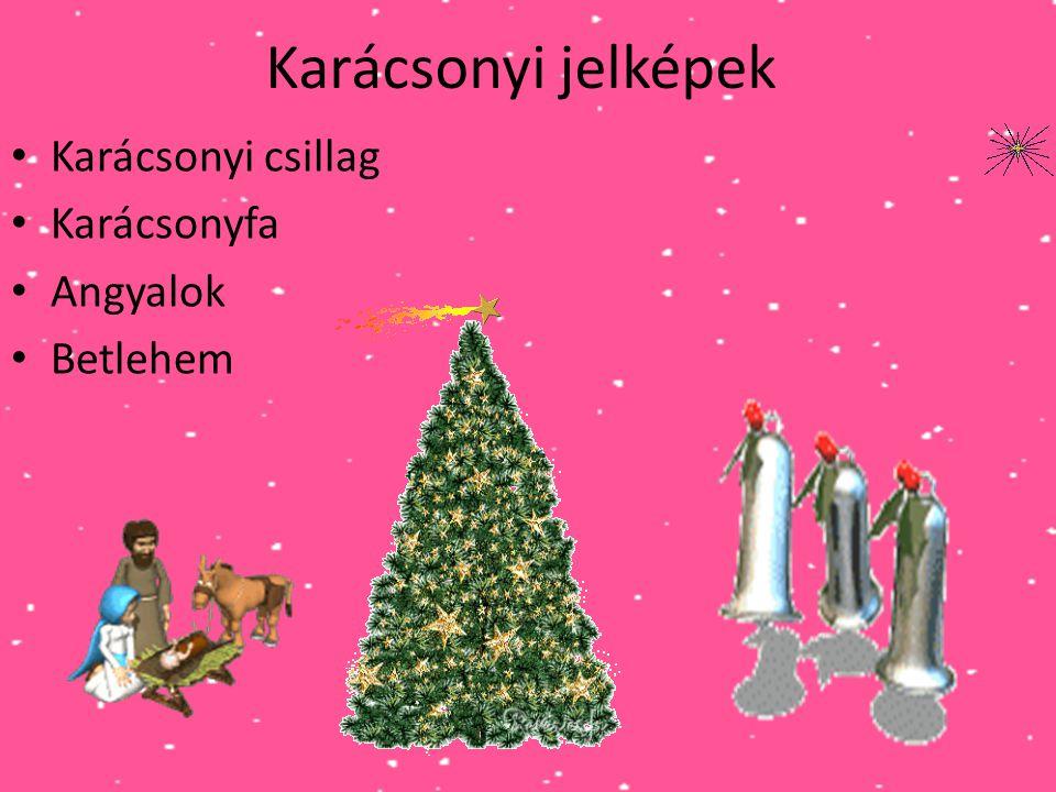 Karácsonyi jelképek Karácsonyi csillag Karácsonyfa Angyalok Betlehem