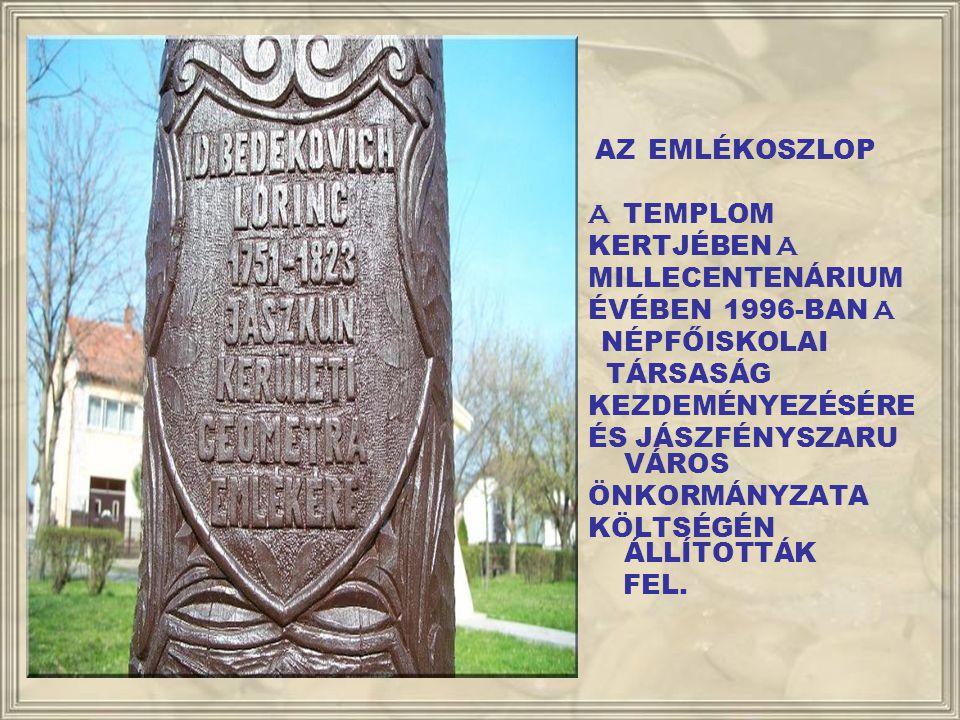 AZ EMLÉKOSZLOP A TEMPLOM. KERTJÉBEN A. MILLECENTENÁRIUM. ÉVÉBEN 1996-BAN A. NÉPFŐISKOLAI. TÁRSASÁG.