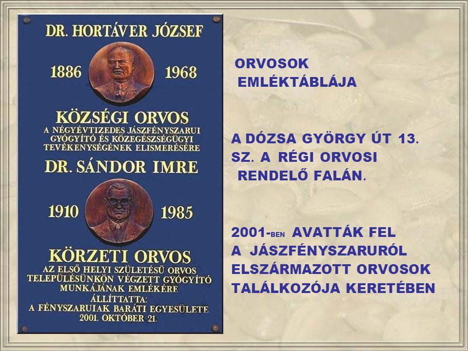 ORVOSOK EMLÉKTÁBLÁJA. A DÓZSA GYÖRGY ÚT 13. SZ. A RÉGI ORVOSI. RENDELŐ FALÁN. 2001-BEN AVATTÁK FEL.