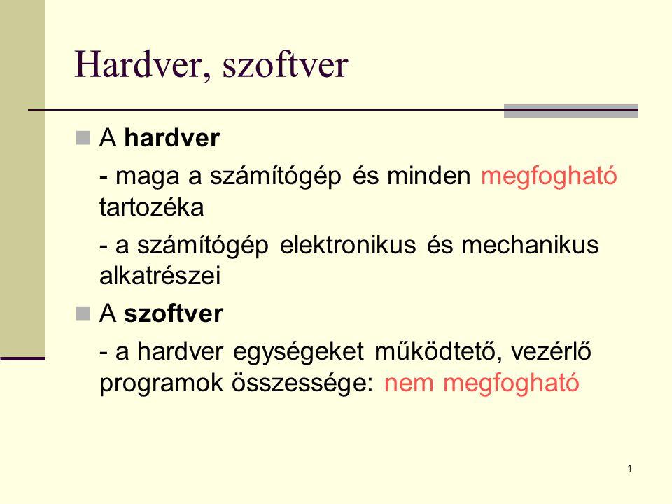 Hardver, szoftver A hardver