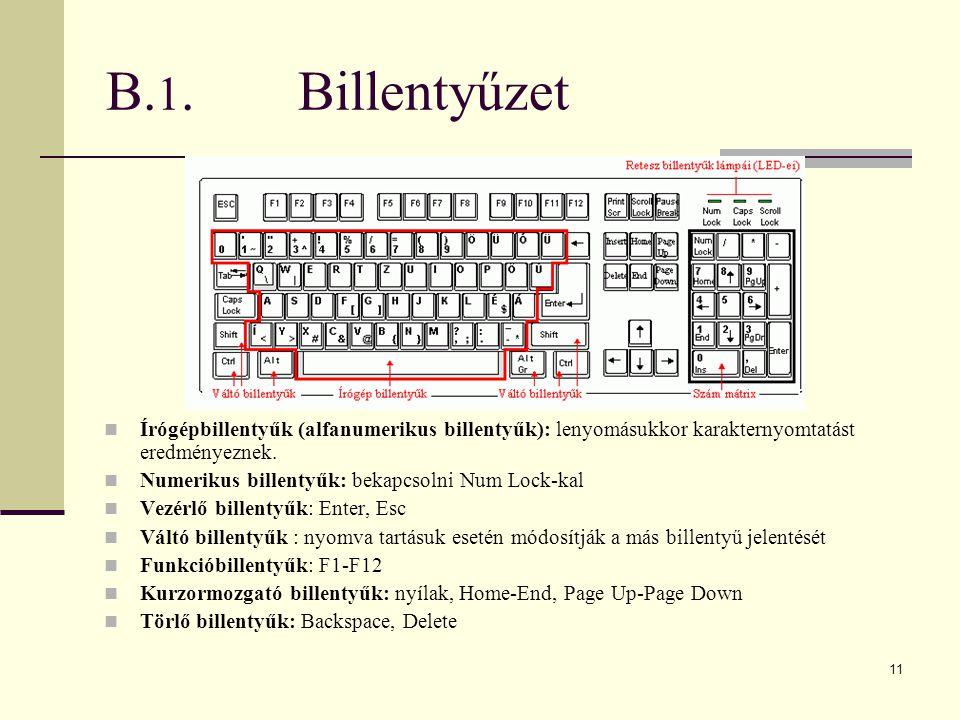 B.1. Billentyűzet Írógépbillentyűk (alfanumerikus billentyűk): lenyomásukkor karakternyomtatást eredményeznek.