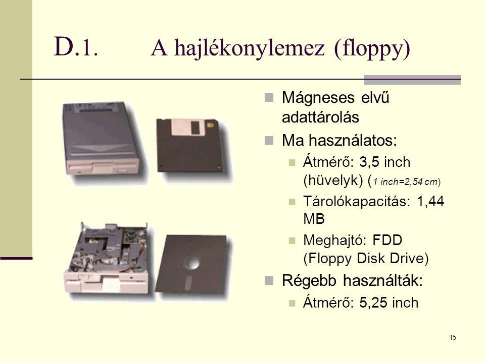 D.1. A hajlékonylemez (floppy)