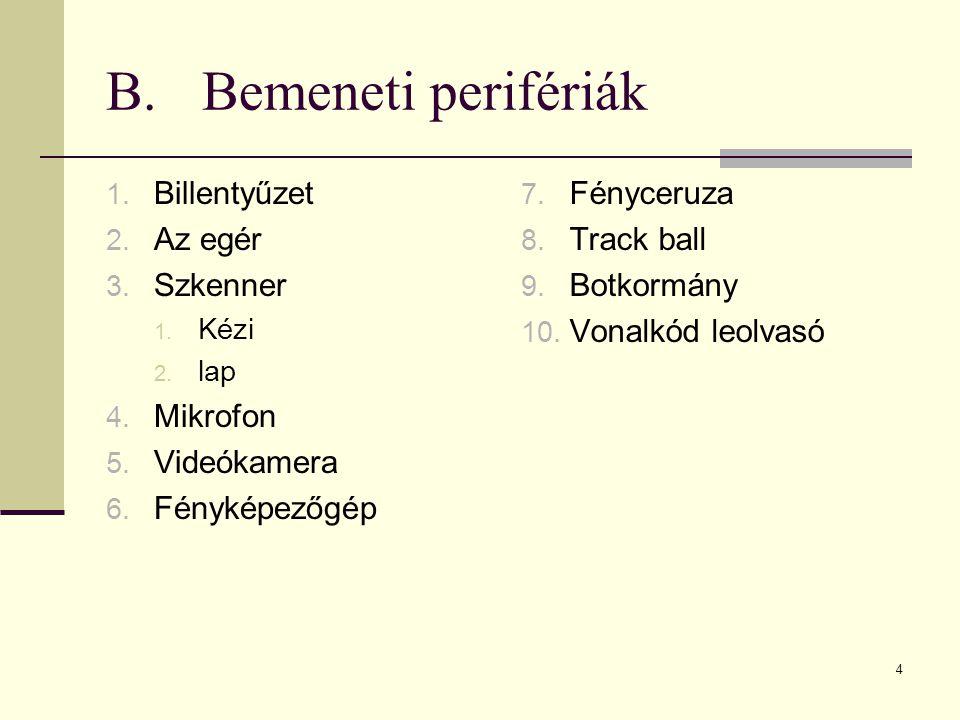 B. Bemeneti perifériák Billentyűzet Az egér Szkenner Mikrofon
