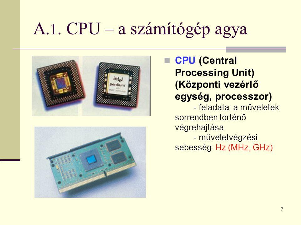 A.1. CPU – a számítógép agya