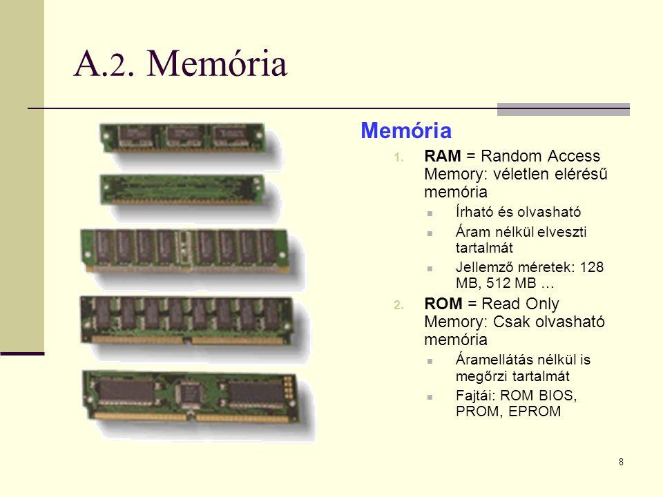 A.2. Memória Memória. RAM = Random Access Memory: véletlen elérésű memória. Írható és olvasható. Áram nélkül elveszti tartalmát.