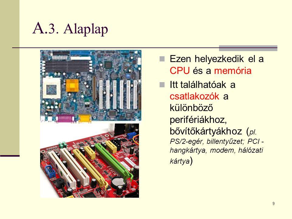 A.3. Alaplap Ezen helyezkedik el a CPU és a memória